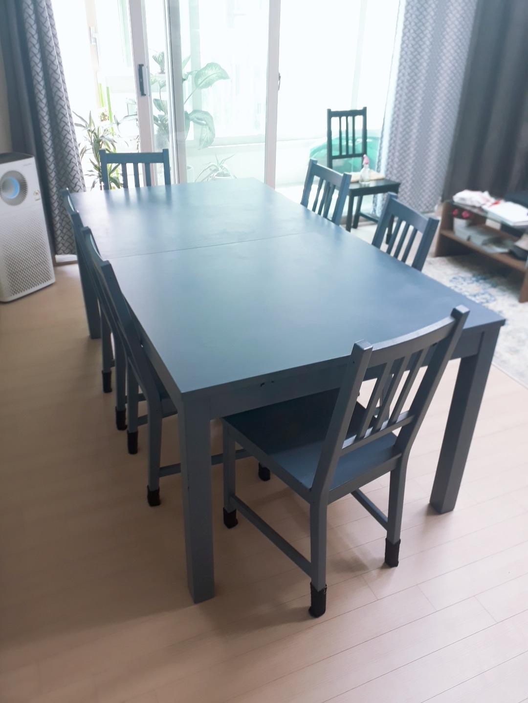블루 6-8인용 테이블+의자
